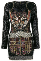 Balmain - Embellished Tiger Mini Dres