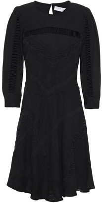 IRO Guipure Lace-trimmed Silk And Cotton-blend Twill Mini Dress