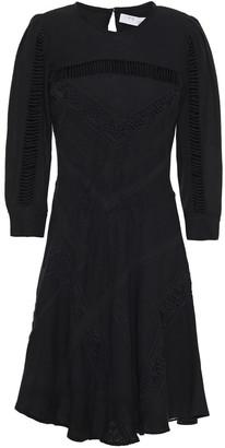 IRO Way Crochet-trimmed Silk And Cotton-blend Mini Dress