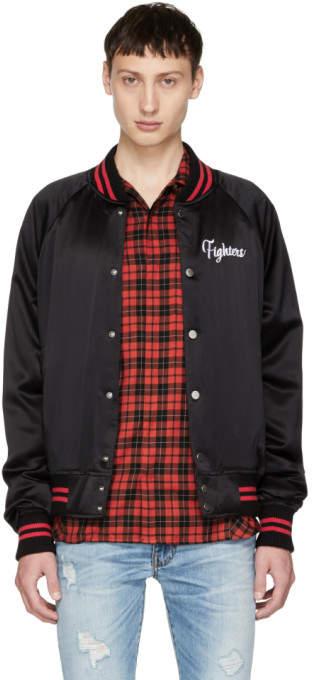 Amiri Black Fighters Embroidered Baseball Jacket