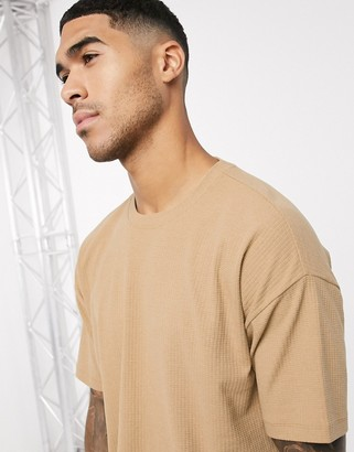 New Look grid texture oversized t-shirt in tan