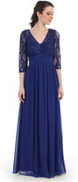 Unique Vintage Royal Blue Three Quarter Sleeve Lace Long Chiffon Dress