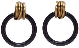 Balenciaga Black and Gold XS Hoop Earrings