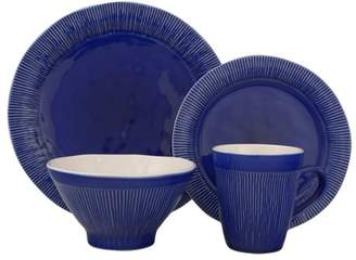 Sango Chromatic Blue 16 Piece Dinnerware Set, Including 4 Dinner Plates, 4 Salad Plates, 4 Soup Bowls, and 4 Mugs