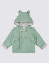 Marks and Spencer Pure Cotton Chunky Knitted Hooded Cardigan
