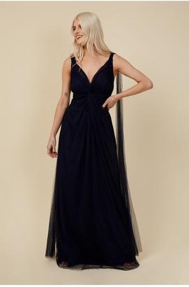 Little Mistress Bridesmaid Eden Navy Knot-Front Maxi Dress