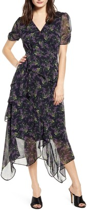 ASTR the Label Floral Print Handkerchief Hem Dress