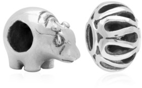 Rhona Sutton 4 Kids Children's Hippo Filigree Bead Charms - Set of 2 in Sterling Silver