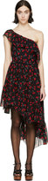 Saint Laurent Black Silk Cherry Dress