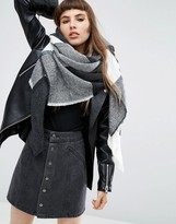 Asos Oversized Square Scarf in Mono Blown Up Check