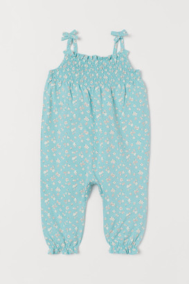 H&M Smocked Romper Suit - Turquoise