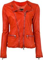 Giorgio Brato zip up jacket - women - Cotton/Leather/Nylon - 42