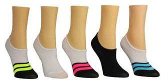 Steve Madden Ladies 5PK Bold Stripe Foot Liners