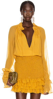 Redemption Pittore Creponne Top in Mustard | FWRD