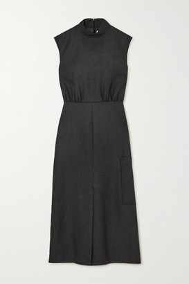Ganni Lace-up Grain De Poudre Midi Dress - Charcoal