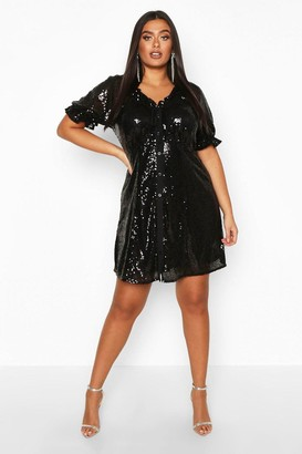 boohoo Plus Sequin Puff Sleeve Skater Dress