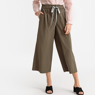 La Redoute Collections Wide Leg Trousers with Drawstring Waist, Length 25""