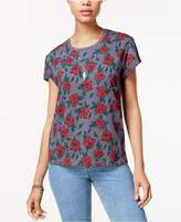 Mighty Fine Juniors' Floral-Print T-Shirt