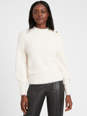Banana Republic Petite Fuzzy Puff-Sleeve Sweater