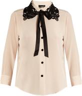 Marc Jacobs Guipure lace-collar silk crepe de Chine blouse