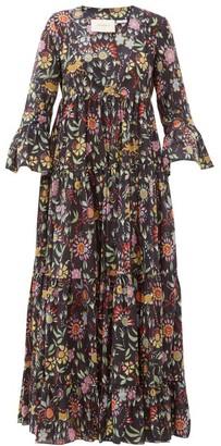 La DoubleJ Jennifer Jane Floral-print Cotton Midi Dress - Womens - Black Print