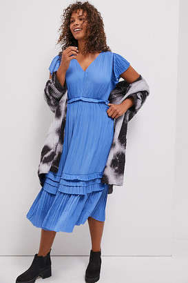 Sereia Pleated Midi Dress By Current Air in Blue Size 3 X