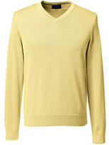 Lands' End Men's Classic Fit Fine Gauge Supima Cotton V-neck Sweater-Dark Camel Heather