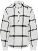 Derek Lam 10 Crosby Lace-Up Checked Cotton-Poplin Shirt