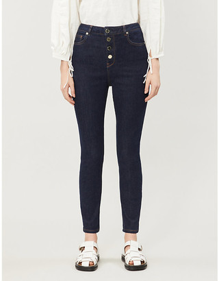 Ted Baker Leppie button-detail straight high-rise jeans