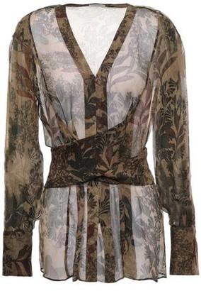 Brunello Cucinelli Tie-back Printed Silk-georgette Blouse