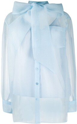 Tory Burch Organza Bow fastening blouse