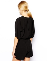 Asos Romper With Wrap Front And Kimono Sleeve