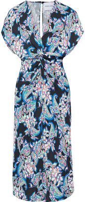 Prabal Gurung Twist-front Printed Silk-cady Midi Dress