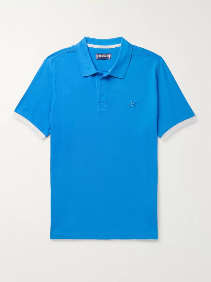 Vilebrequin Palatin Contrast-Tipped Cotton-Pique Polo Shirt - Men - Blue