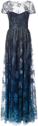Marchesa sheer floral embroidered gown