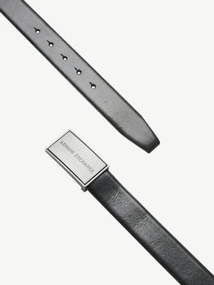 Armani Exchange Plaque Leather Belt