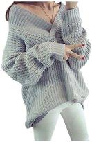 ARJOSA Women's Deep V Neck Lantern Batwing Sleeve Casual Jumper Pullover Sweater (, Grey)