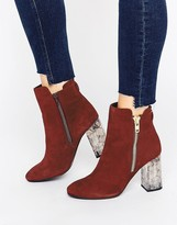 Faith Boston Zip Marble Detail Heeled Ankle Boot