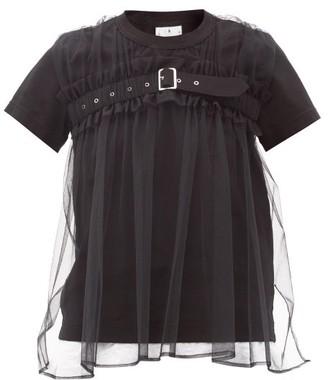 Noir Kei Ninomiya Strapped Tulle-panel Cotton-jersey T-shirt - Black