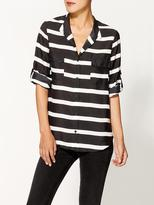 Collective Concepts Collarless Striped Buttondown Blouse