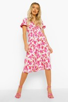 Thumbnail for your product : boohoo Floral Puff Sleeve Tie Front Midi Dress
