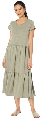 Mod-o-doc Slub Jersey Short Sleeve Tiered T-Shirt Dress (Cactus) Women's Clothing