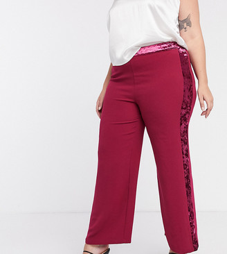 Simply Be velour trim pants in pink
