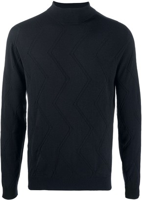 Giorgio Armani Mock Neck Zig-Zag Knit Sweater