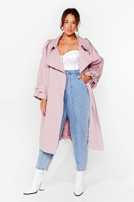 Nasty Gal Womens Cover Your Basics Plus Belted Trench Coat - Pink - 16