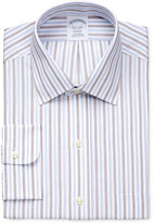 Brooks Brothers Men's Regent Classic Fit Non-Iron Brown Stripe Dress Shirt