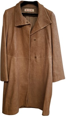 Marni Brown Leather Coat for Women