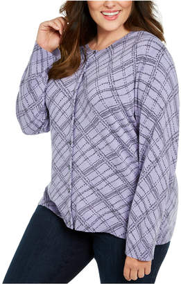 Karen Scott Plus Size Button-Front Print Sweater