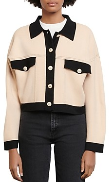 Sandro Cher Cropped Contrast-Trim Knit Cardigan