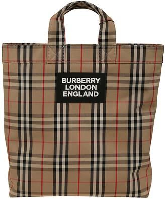 Burberry Check Shoppers Bag